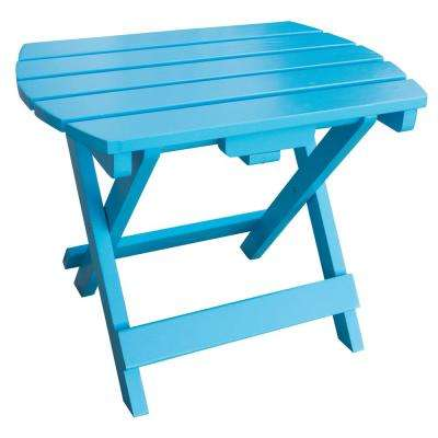 Amerihome Aruba Blue Wood Outdoor Side Table With Painted 802528 The Home Depot