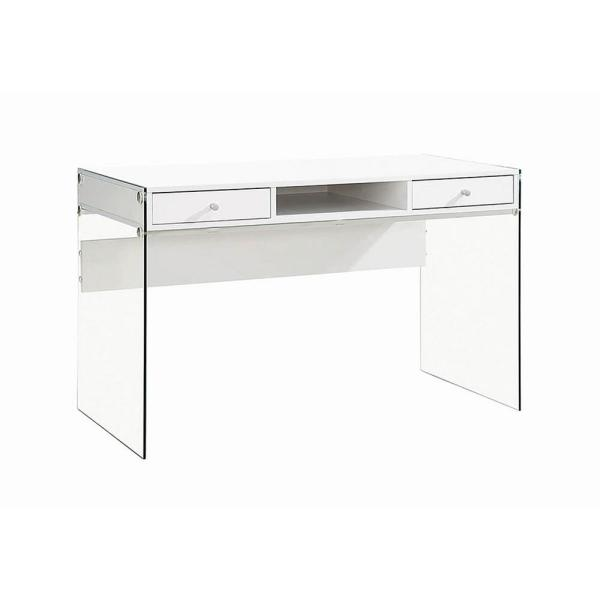Coaster - Writing Desk with Glass Sides Glossy White and Clear