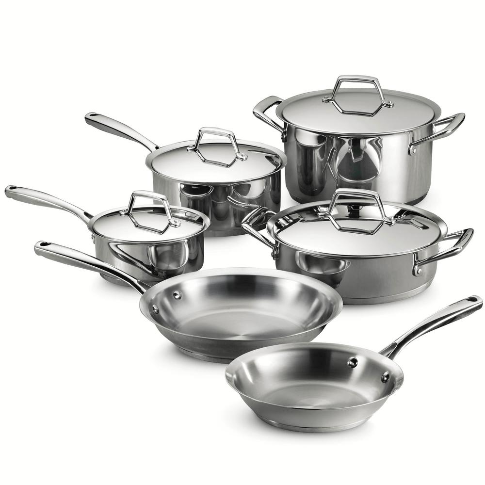 Gourmet Prima 10-Piece Stainless Steel Cookware Set with Lids