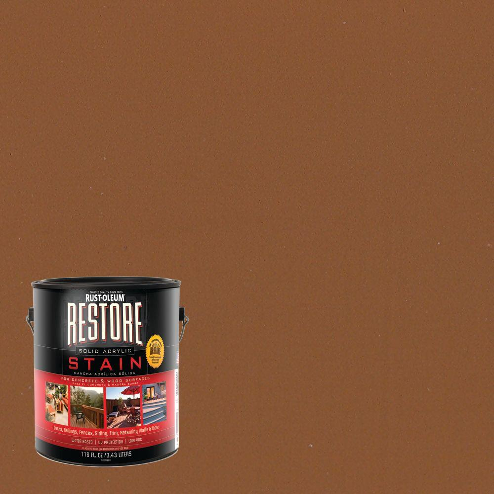 Rust-Oleum Restore 1 gal. Solid Acrylic Water Based Saddle Exterior Stain