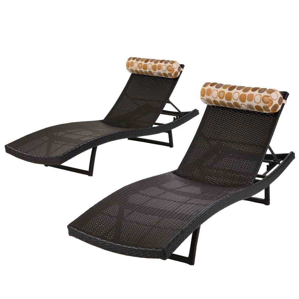 Rst brands woven wave patio chaise lounger with bolster for Chaise longue wave