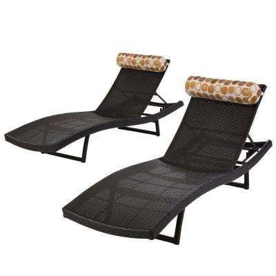 Woven Wave Patio Chaise Lounger with Bolster (Set of 2)