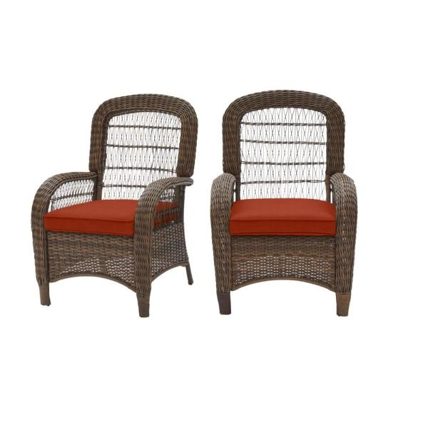 Beacon Park Brown Wicker Outdoor Patio Captain Dining Chair with CushionGuard Quarry Red Cushions (2-Pack)