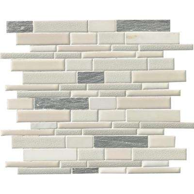 Everest Interlocking 12 in. x 12 in. x 8 mm Porcelain and Stone Mesh-Mounted Mosaic Tile