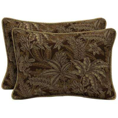 Palmetto Espresso Oversize Lumbar Outdoor Throw Pillow with Welt (2-Pack)