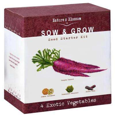 Exotic Vegetables Growing Kit Complete Set to Grow 4 Unique Vegetables Planting Pots, Soil and Guide Included