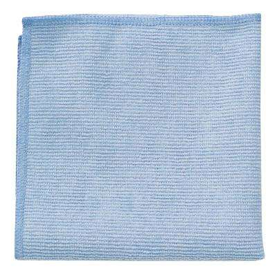 16 in. x 16 in. Light Commercial Blue Microfiber Cloth (24-Count)