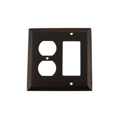 Deco Switch Plate with Rocker and Outlet in Timeless Bronze
