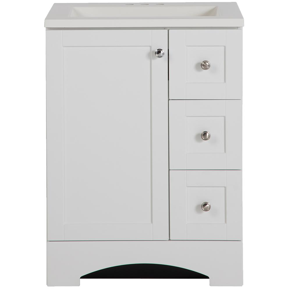 Glacier Bay Lancaster 24 In W X 19 In D Bath Vanity And Vanity Top In White Lc24p2com Wh The