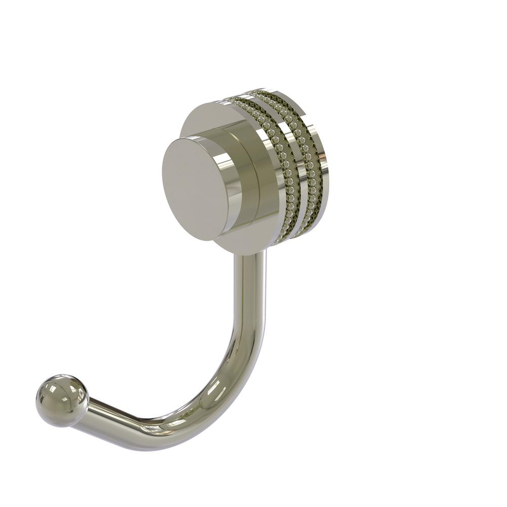 Venus Collection Wall-Mount Robe Hook with Dotted Accents in Polished Nickel