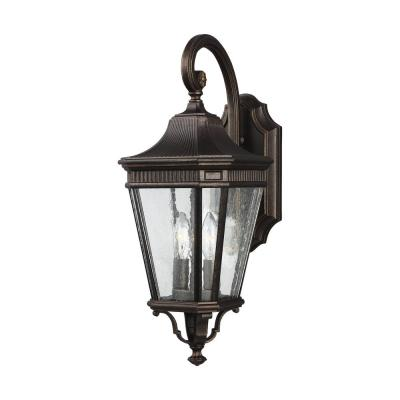 Cotswold Lane 2-Light Grecian Bronze Outdoor 20.375 in. Wall Lantern Sconce