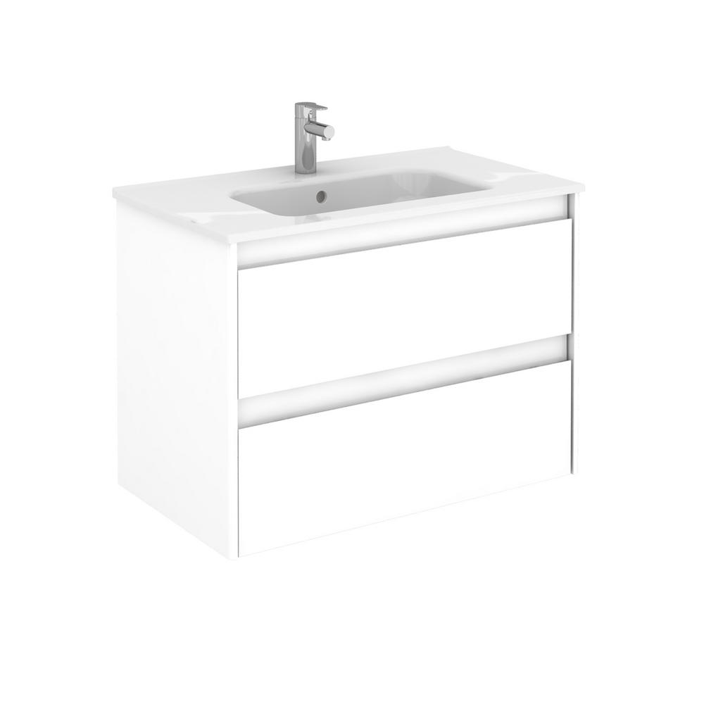 WS Bath Collections 31.6 in. W x 18.1 in. D x 22.3 in. H Bathroom Vanity Unit in White Gloss with Vanity Top and Basin in White