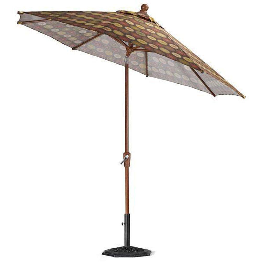 Home Decorators Collection 11 ft. Auto-Crank Tilt Patio Umbrella in Berringer Chocolate-DISCONTINUED