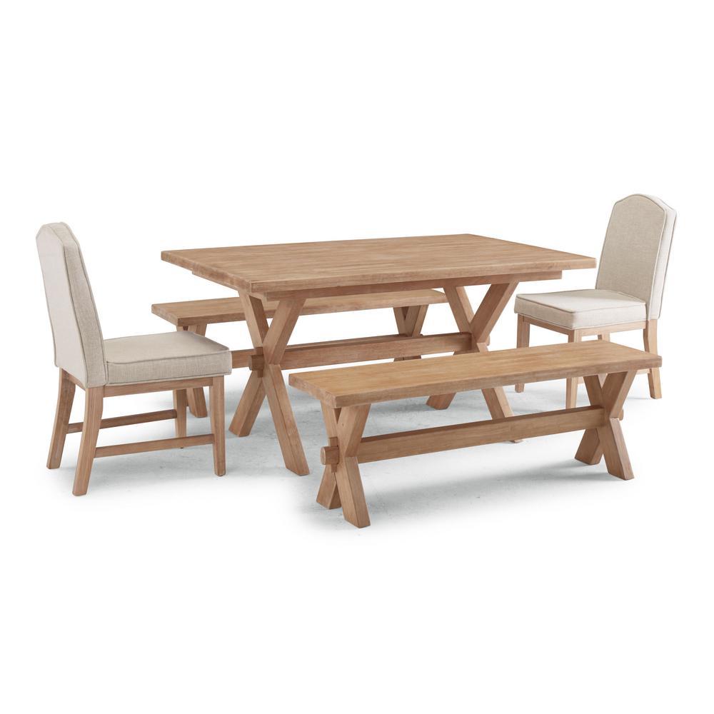 Cambridge White Washed 5 Pc Rectangular Trestle Dining Table Group