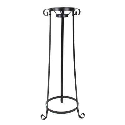 24 in. Black Swirled Large Outdoor Patio Stand for Garden Gazing Balls