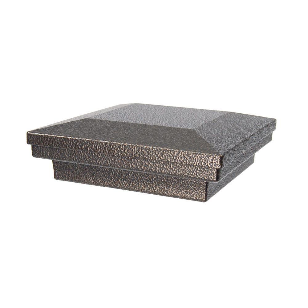 4 in. x 4 in. Antique Bronze Aluminum Flat Pyramid Post Cap
