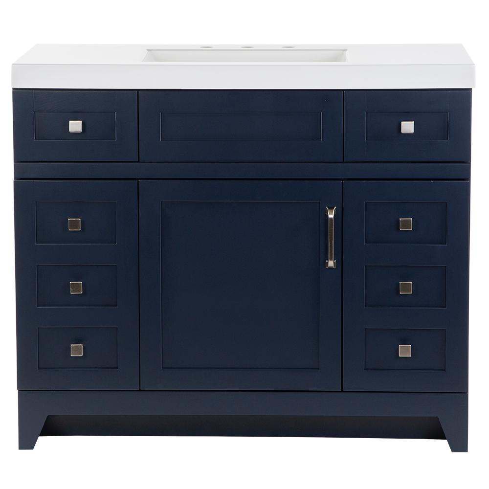 St. Paul Rosedale 42 in. W x 19 in. D Bathroom Vanity in Blue with Cultured Marble Vanity Top in White with White Sink