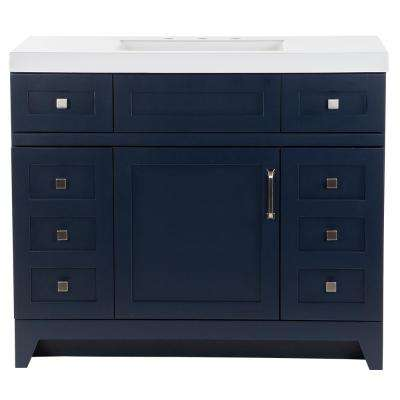 Rosedale 42.50 in. W x 18.75 in. D Bathroom Vanity in Blue with Cultured Marble Vanity Top in White with White Sink