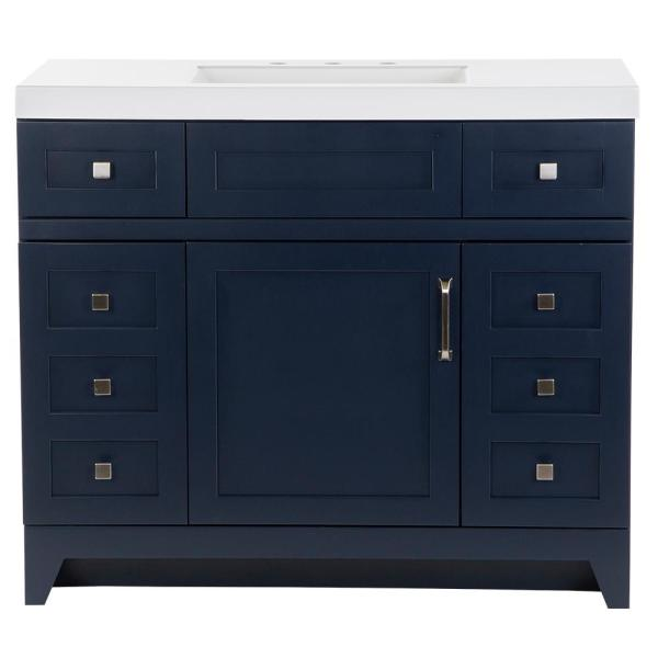Rosedale 42 in. W x 19 in. D Bathroom Vanity in Blue with Cultured Marble Vanity Top in White with White Sink