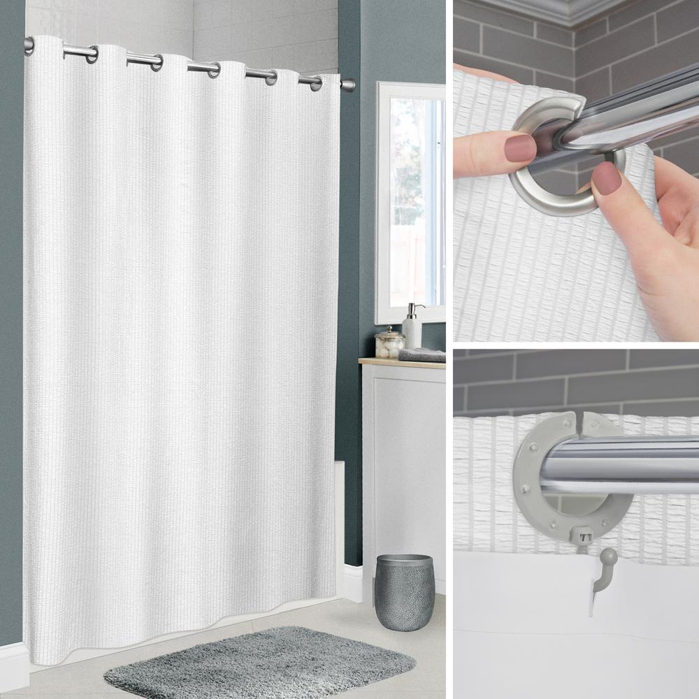 InstaCurtain Norwalk 74 in. White Seersucker Shower Curtain