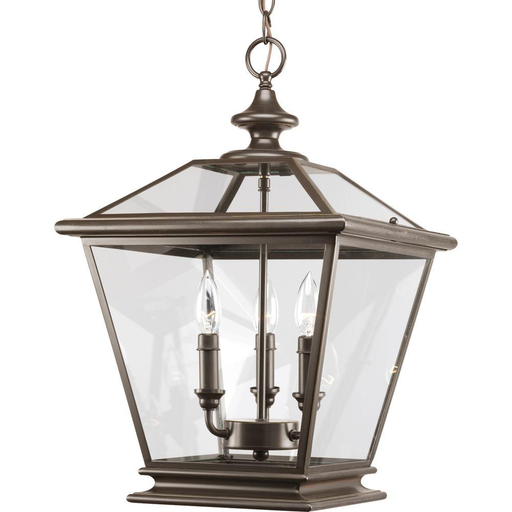 Progress Lighting Crestwood Collection 3-Light Antique Bronze Foyer Pendant with Clear Glass