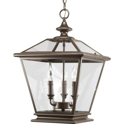 Crestwood Collection 3-Light Antique Bronze Foyer Pendant with Clear Glass