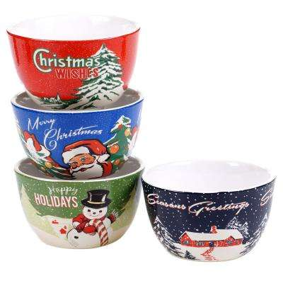 Retro Christmas Ice Cream and Cereal Bowl (Set of 4)