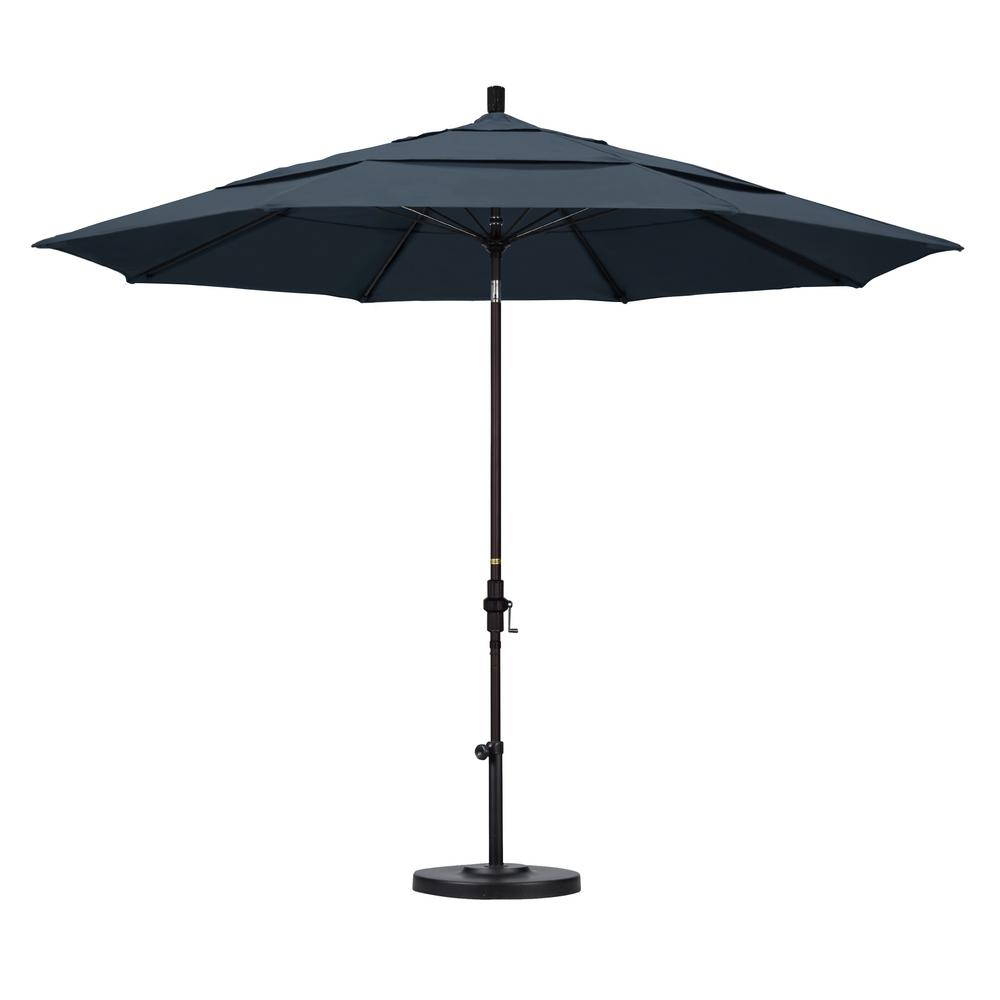 California Umbrella 11 ft. Fiberglass Collar Tilt Double Vented Patio Umbrella in Sapphire Pacifica