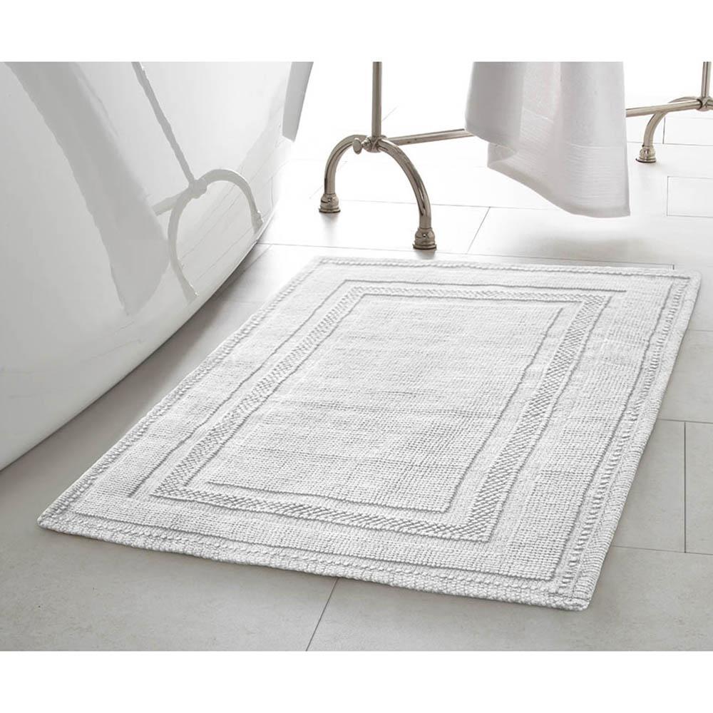 Cotton Stonewash Racetrack 17 in. x 24 in./20 in. x 32 in. 2-Piece Bath Rug Set in White