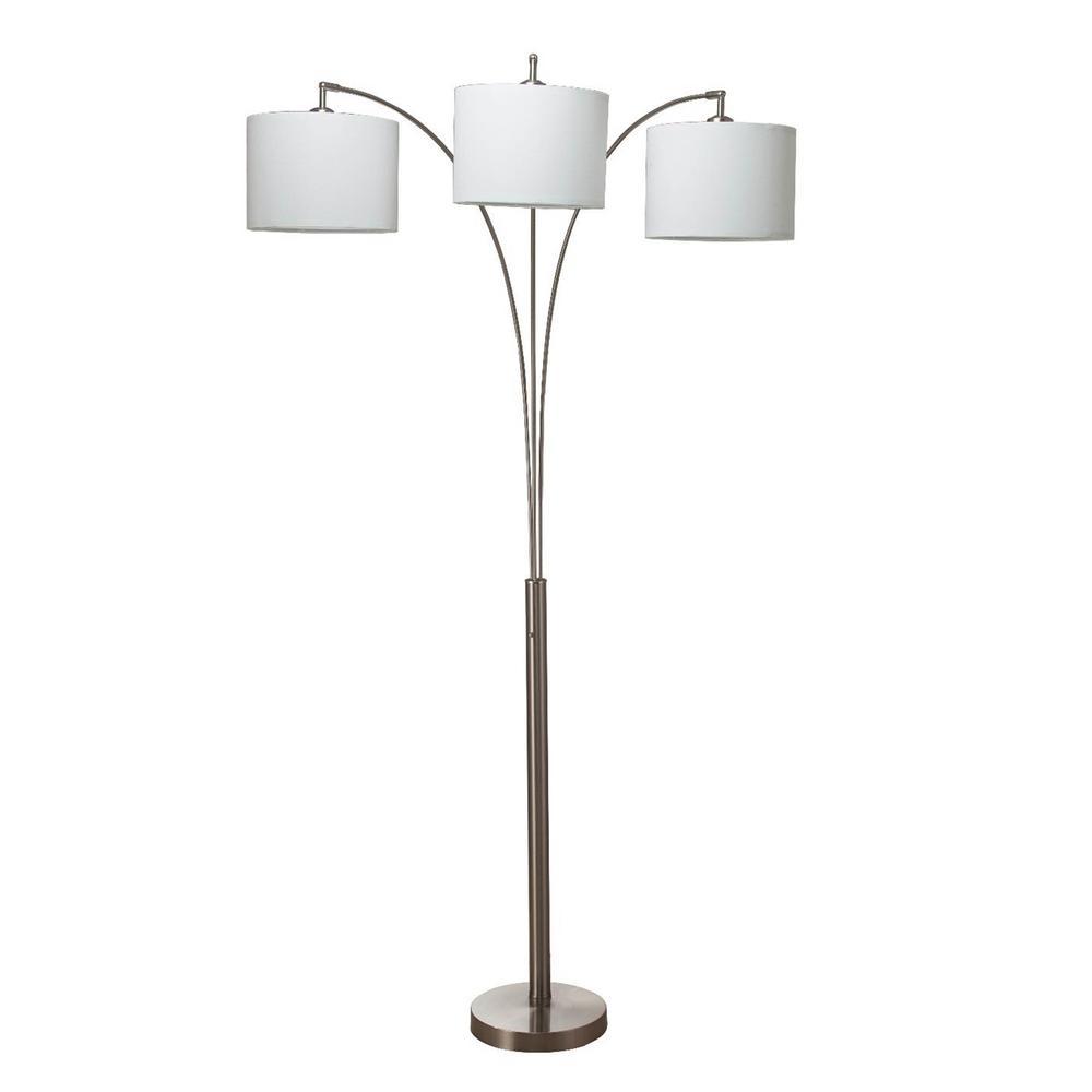 Ore International Nikolai 84 In Brush Silver 3 Arc Floor Lamp