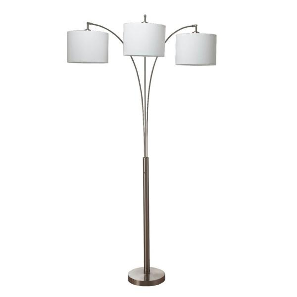 Nikolai 84 in. Brush Silver 3-Arc Floor Lamp