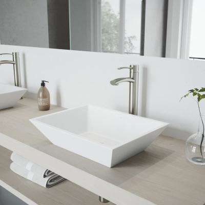 Vinca Matte Stone Vessel Sink in White with Milo Vessel Faucet in Brushed Nickel