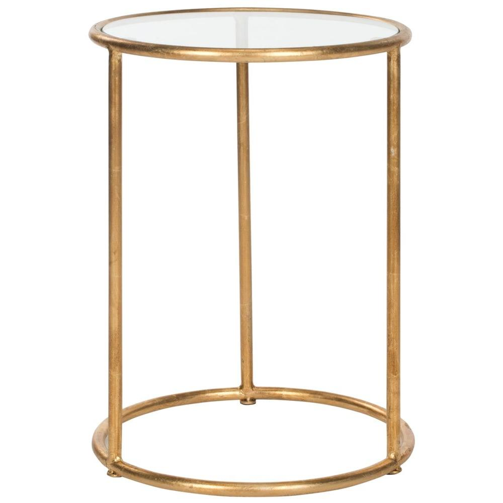 Safavieh Shay Gold Glass Top End Table Fox2523b The Home Depot