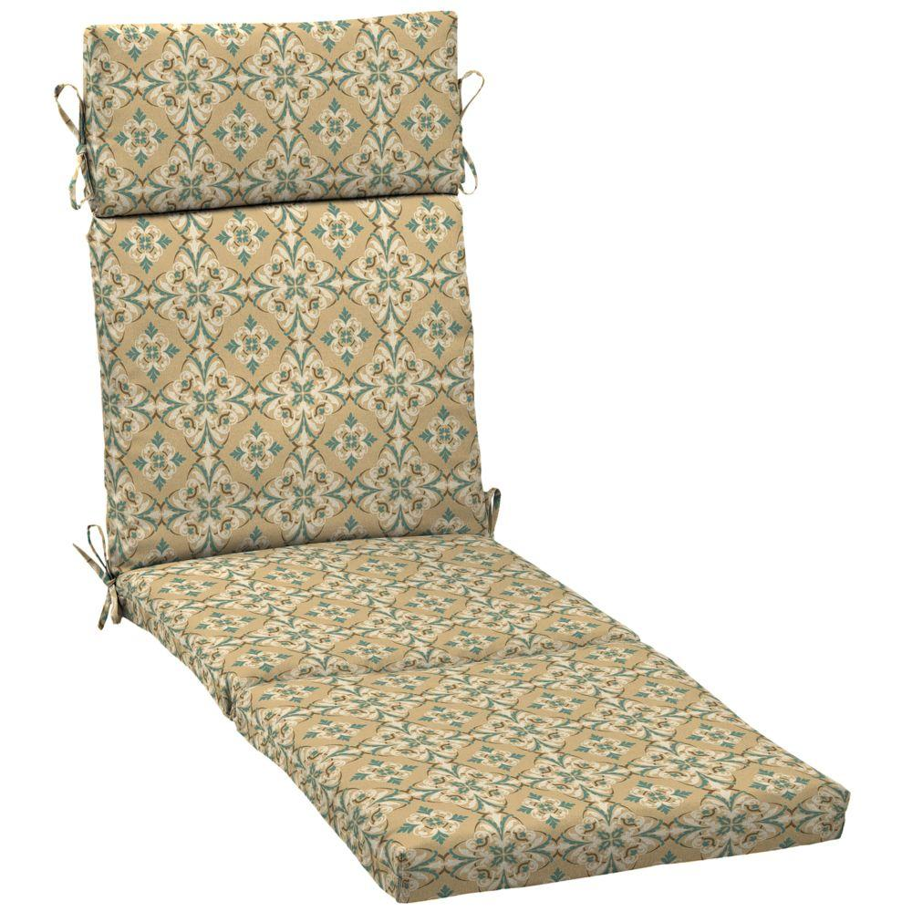 Hampton Bay Roux and Turquoise Medallion Outdoor Chaise Lounge Cushion