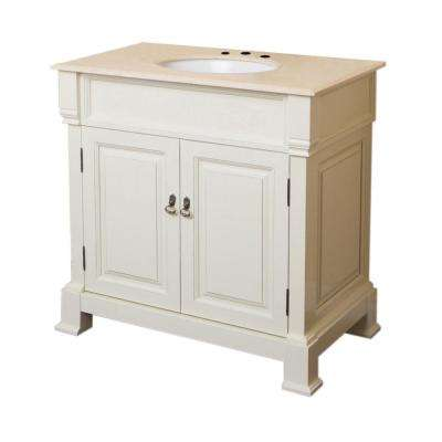 D Single Vanity In Cream White With