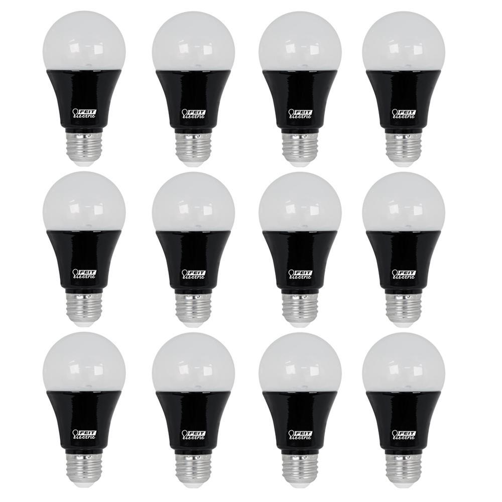 60-Watt Equivalent A19 Medium E26 Base LED Black Light Party Light Bulb (12-Pack)