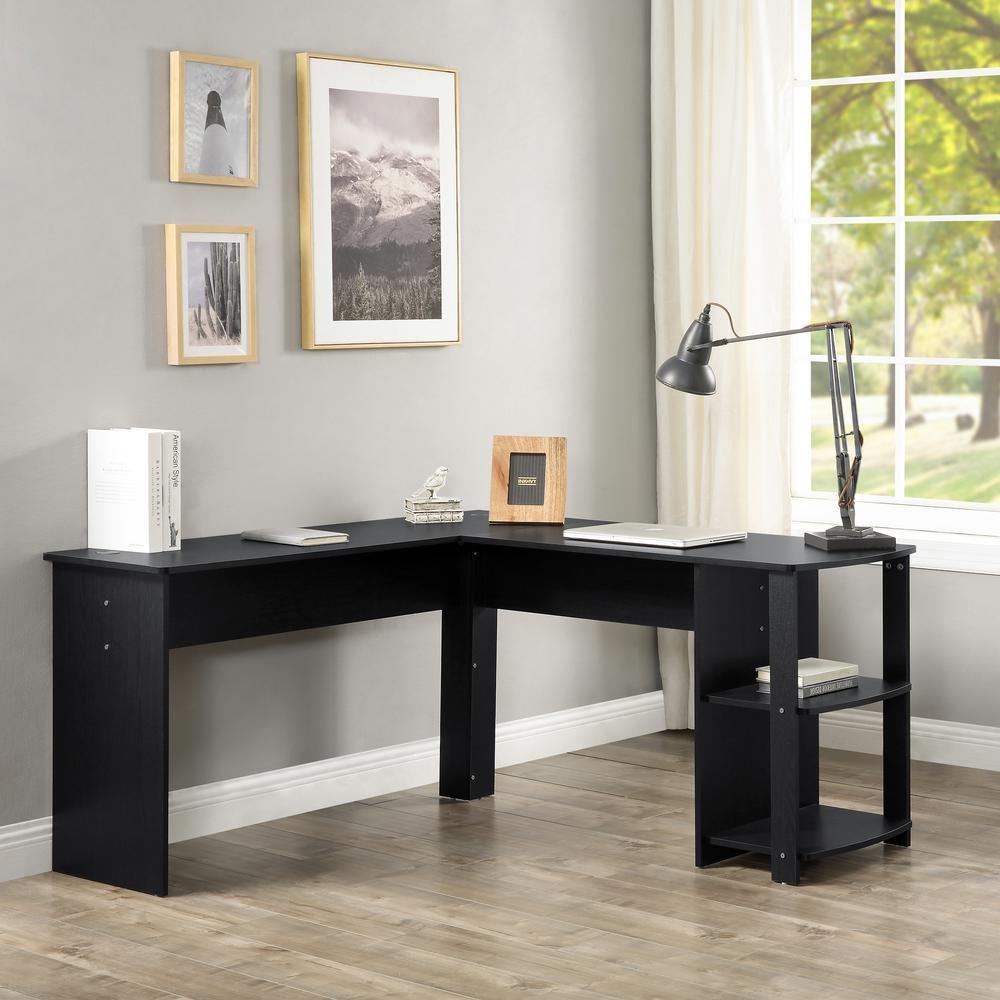 Black L-Shaped Computer Desk with Side Storage