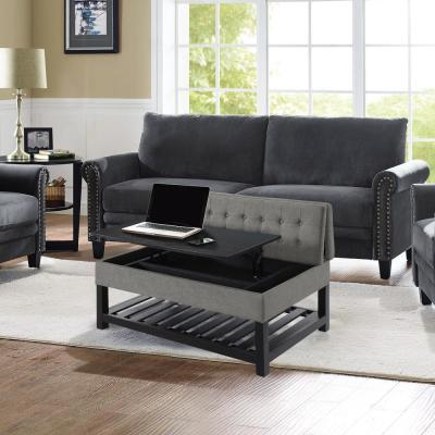 Joliet  Grey Solid Wood Tufted Coffee Table Work Table Convertible with Storage