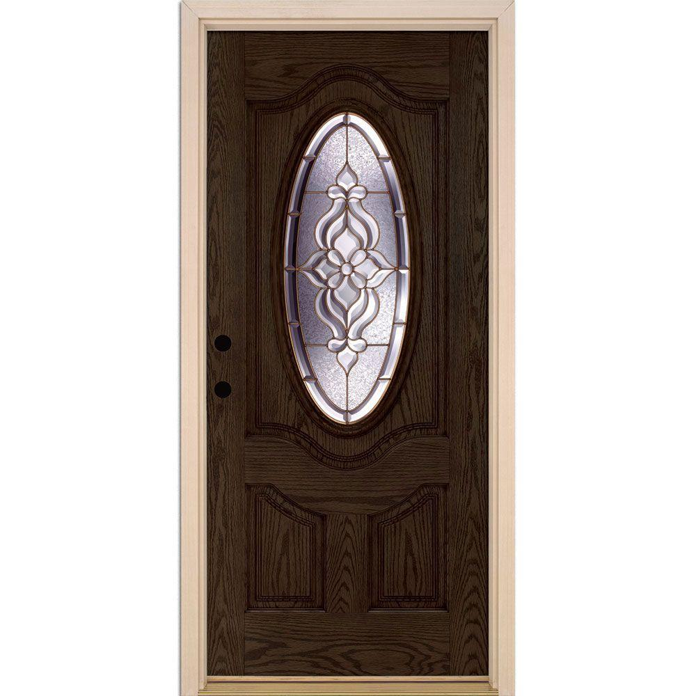 Feather River Doors 37.5 in. x 81.625 in. Lakewood Brass 3/4 Oval Lite Stained Walnut Oak Right-Hand Inswing Fiberglass Prehung Front Door