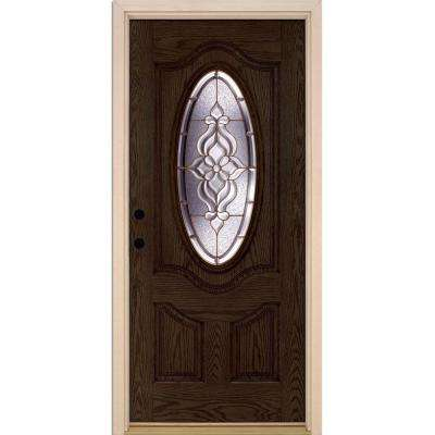 37.5 in. x 81.625 in. Lakewood Brass 3/4 Oval Lite Stained Walnut Oak Right-Hand Inswing Fiberglass Prehung Front Door