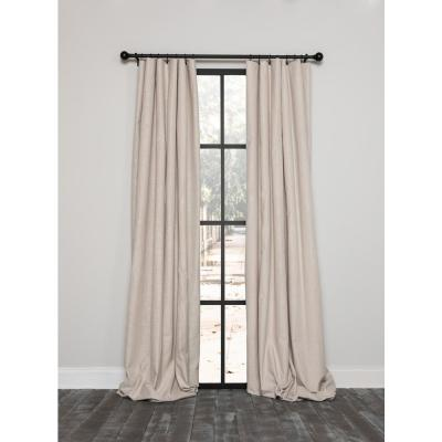 Lucille 54 in. x 108 in. Solid Blackout Thermal Rod Pocket Curtain Single Panel in Beige