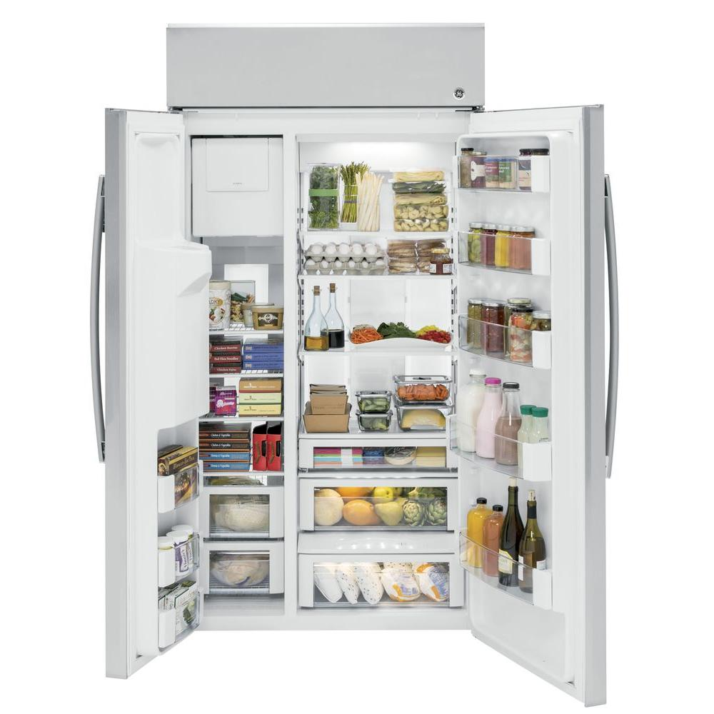 GE Profile 28 7 cu  ft  Built-In Side by Side Refrigerator in Stainless  Steel