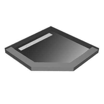 44 in. x 44 in. Neo-Angle Shower Base with Left Drain and Polished Chrome Trench Grate
