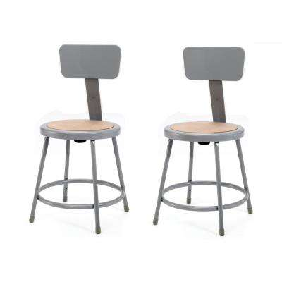 18 in. Grey Heavy-Duty Steel Stool with Backrest (2-Pack)