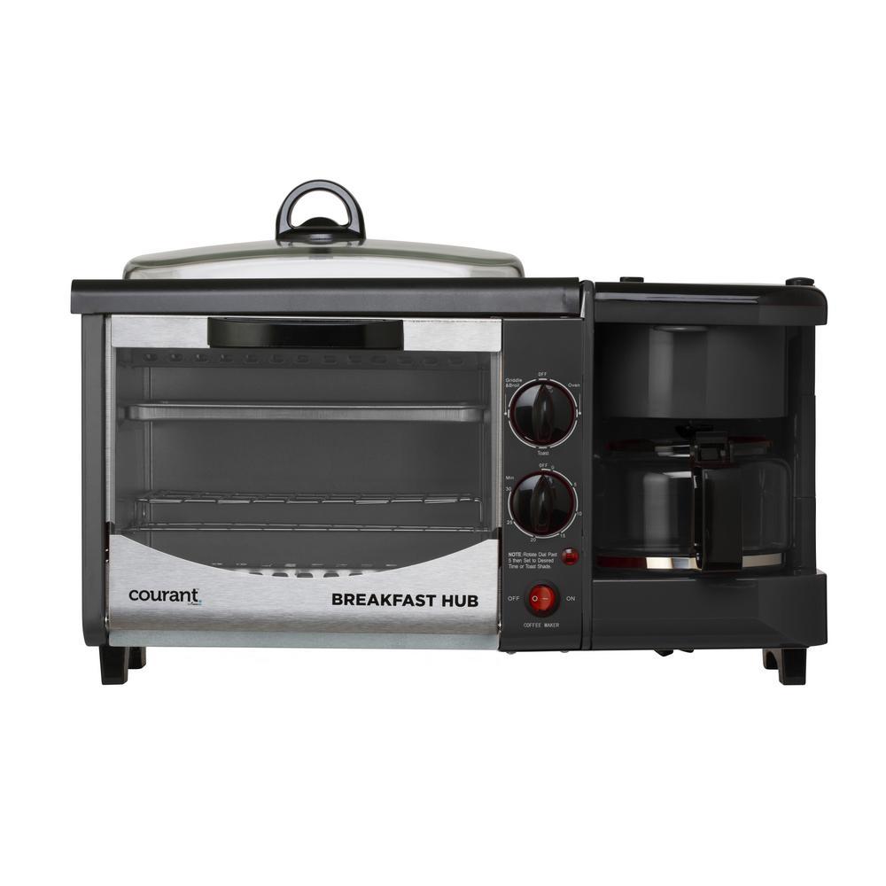 3 in 1 Breakfast Center Black Toaster Oven