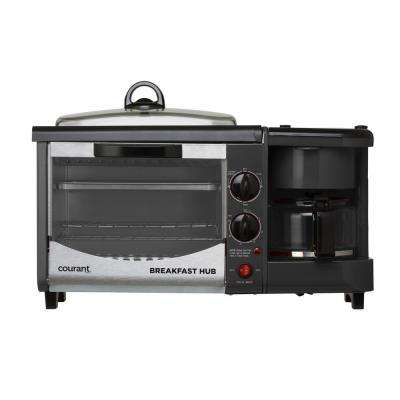 Breakfast Center 800 W 2-Slice Black Toaster with Griddle