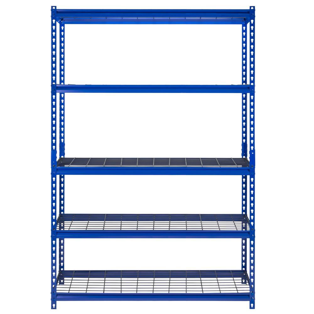 48 in. W x 72 in. H x 18 in. D Z-Beam Boltless Blue Steel Shelving Unit 5-Shelf