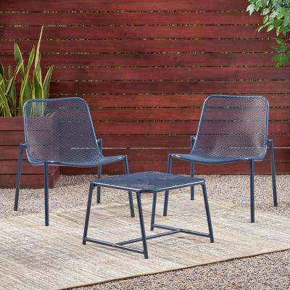 Bucknell Matte Navy Blue 3-Piece Metal Patio Conversation Seating Set