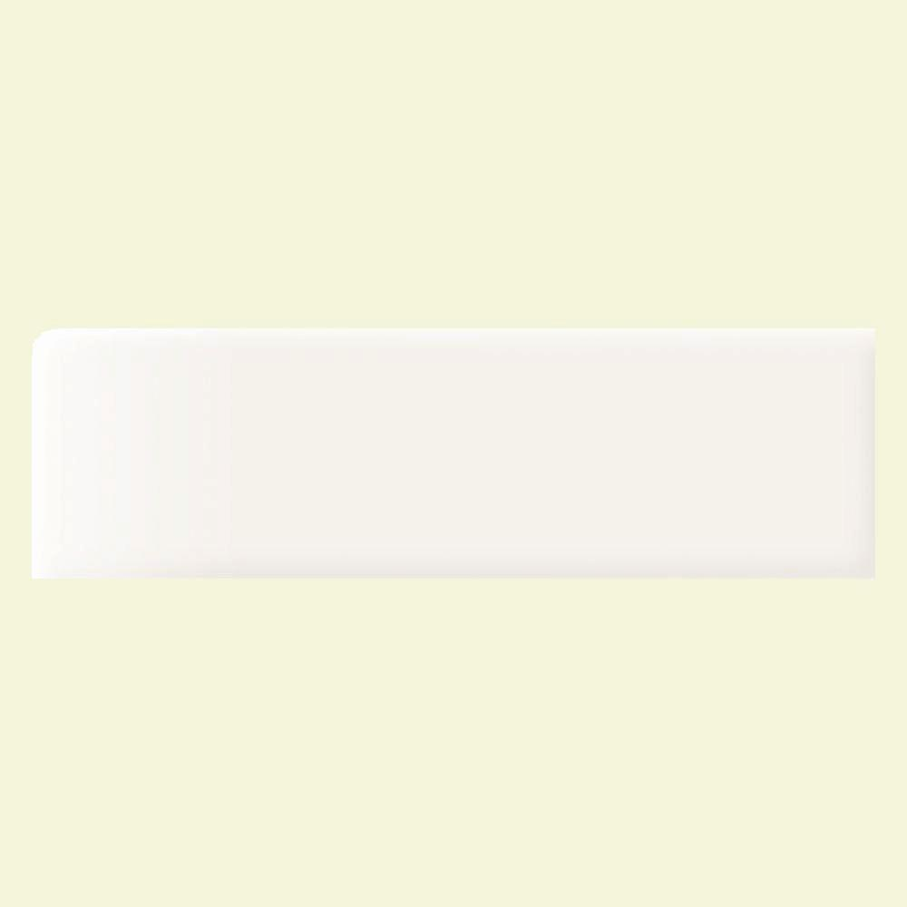 Daltile Modern Dimensions Arctic White 2-1/8 in. x 8-1/2 in. Ceramic Bullnose Wall Tile-DISCONTINUED