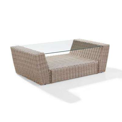 St Augustine Weathered White Outdoor Wicker Coffee Table